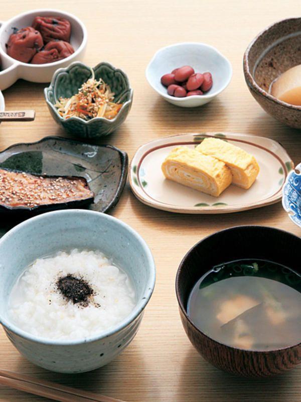 Rustic Japanese Breakfast with Rice Gruel 朝粥