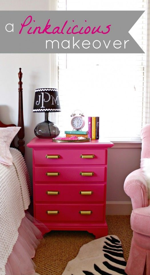 """@April Teerlink Bean -- maybe you could put some """"pops"""" of pink in the new room.  Hot Pink night stand makeover"""