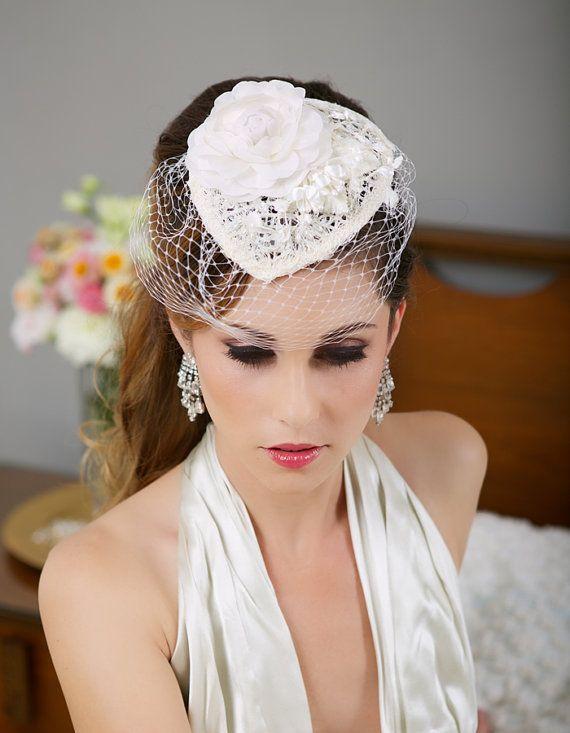 Ivory Lace Bridal Hat, Birdcage Veil Hat, Wedding Fascinator, Vintage Wedding…
