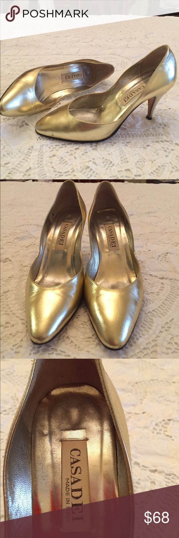 Casadei gold evening shoes Made in Italy. Size 7 casadei Shoes Heels