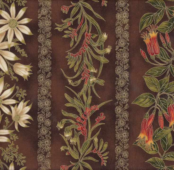 Australian Sun Banksia Grevillea Flannel Flowers Brown Quilting Fabric - Find a Fabric. Available to purchase in Fat Quarters, Half Metre, 3/4 Metre, 1 Metre and so on.
