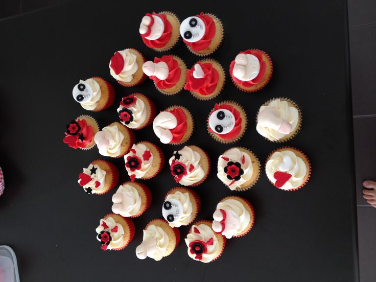 Naughty Adult Cupcakes - Vanilla cupcakes with a mixture of naughty toppers for a Hux party