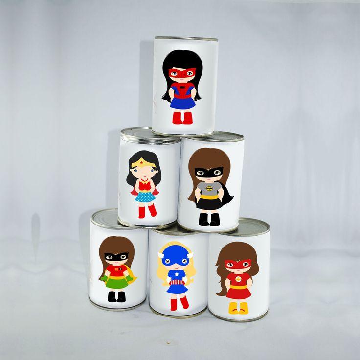 6 Grandes Étiquettes Super girls Chamboule-tout : Jeux, jouets par creerpourvous