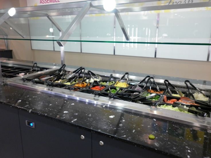 A salad bar with a great variety of food in the Main refectory