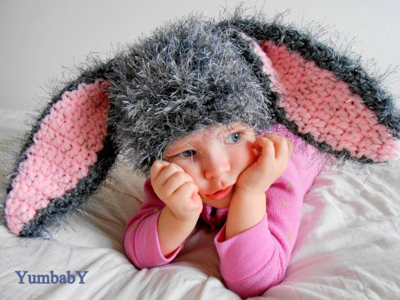 Grey Easter Bunny HatSuper Soft and Comfy by YumbabY on Etsy, $24.95