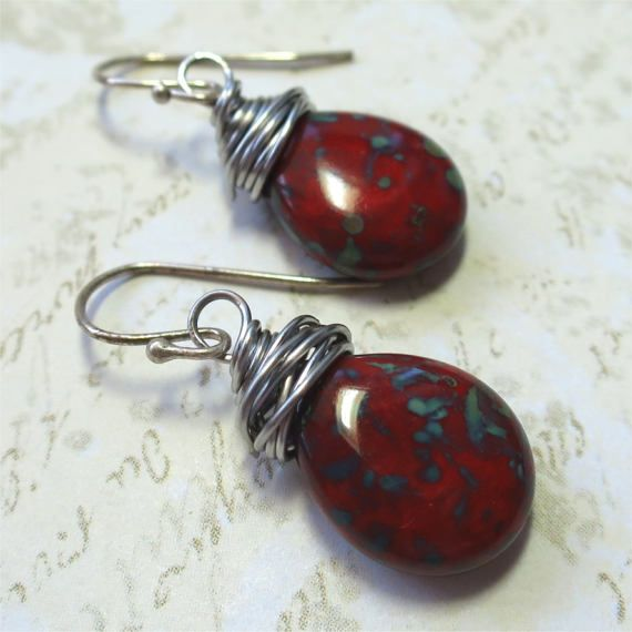 Earrings red  czech glass teardrop beads with by planettreasures