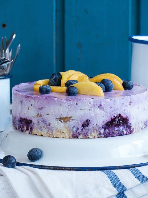 no bake Blaubeer-Pfirsich-Kokos Cheesecake | Meine Küchenschlacht