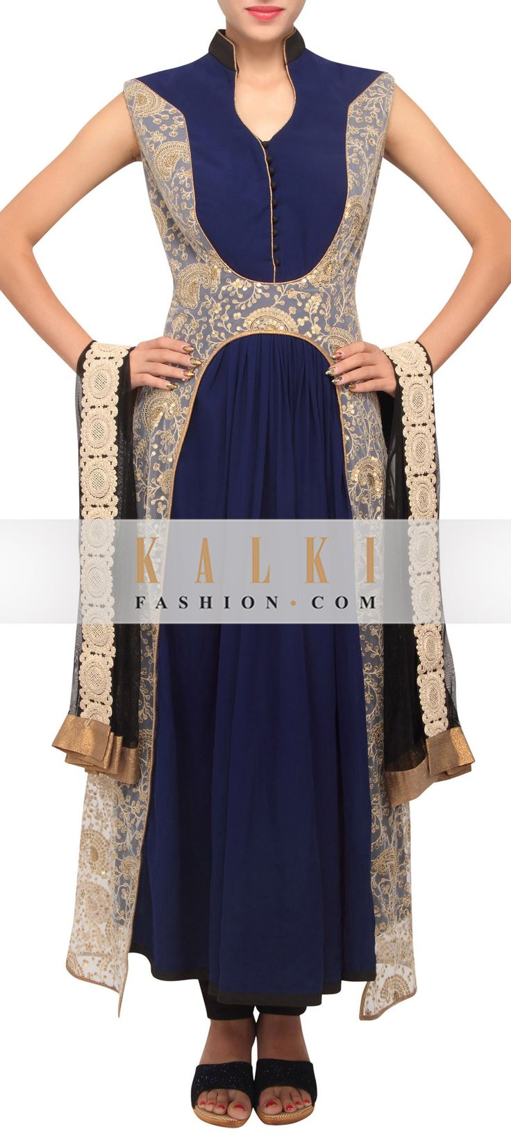Buy Online from the link below. We ship worldwide (Free Shipping over US$100) http://www.kalkifashion.com/navy-blue-coloured-salwar-suit-with-zari-work-and-dupatta-only-on-kalki.html