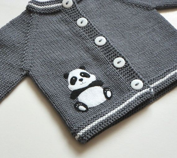 Panda sweater grey and white wool baby jacket merino by Tuttolv
