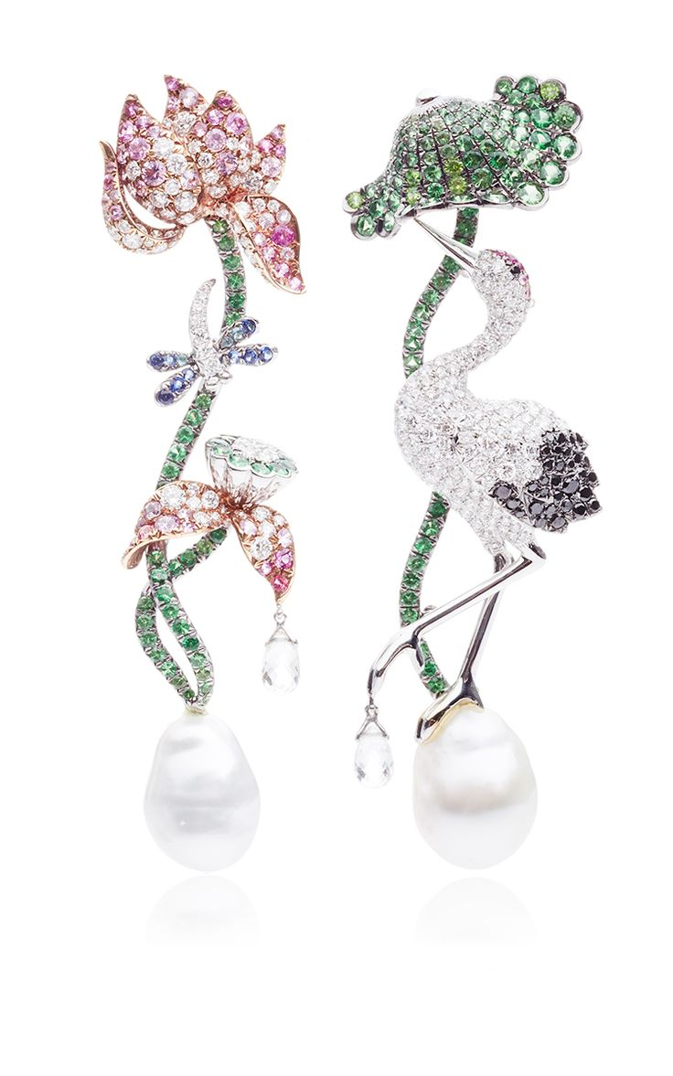 Briolette, Paraiba, And Sapphire Earrings by Anna Hu Haute Joaillerie for Preorder on Moda Operandi