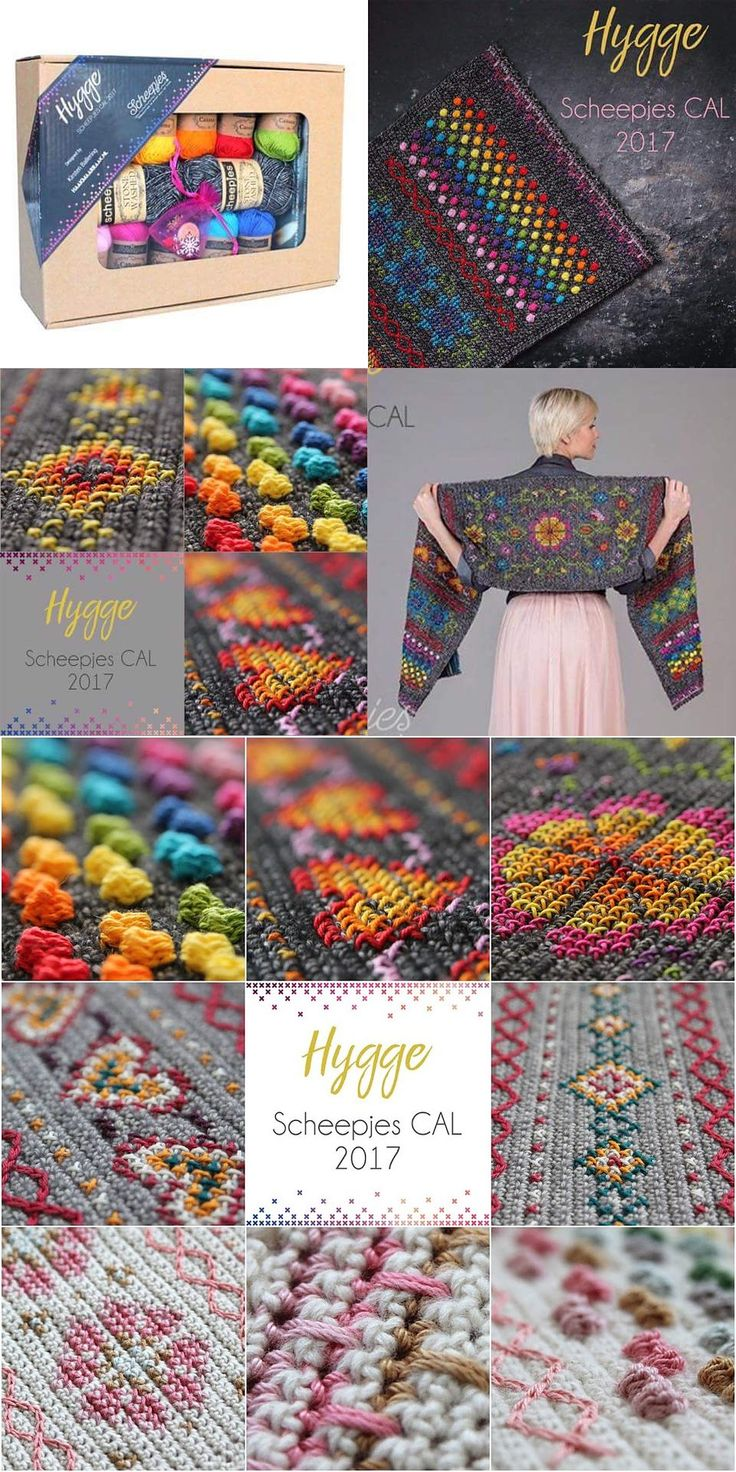 Scheepjes Hygge 2017 CAL (14 wks, beginning Feb. 15, 2017) ~ Free pattern for wrap/shawl, kits available in 4 color ways. Combination of crochet stitches ('Stonewashed' cotton-acrylic blend) & cross stitch ('Catona' mercerized cotton) in Scandanavian-inspired designs. #tablerunner
