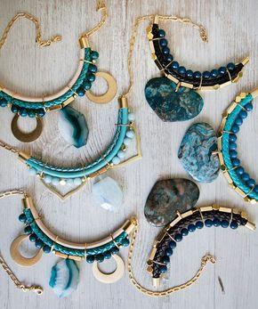 #BeadedNecklace #slice gemstone #goldand blue #jewelry