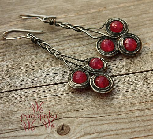 Red beaded wire earrings