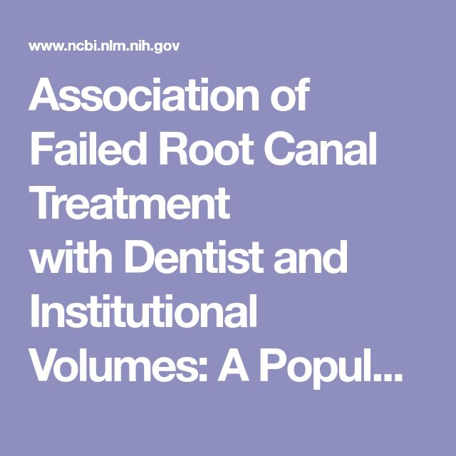 Association of Failed Root Canal Treatment with Dentist and Institutional Volumes: A Population-based Cohort Study in Taiwan.  - PubMed - NCBI