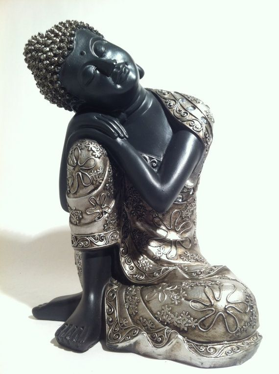 Sleeping Sitting Buddha Statue - Asian Home Decor Zen Garden Hindu Sculpture - Great Gift