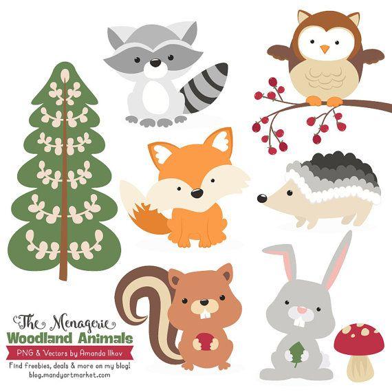 Premium Woodland Animals Clip Art & Vectors  von AmandaIlkov