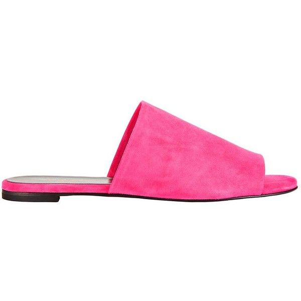 Robert Clergerie Women's Suede Fuchsia Flat Slides ($395) ❤ liked on Polyvore featuring shoes, flats, pink, open toe shoes, fuschia shoes, pink suede shoes, open toe flat shoes and suede shoes