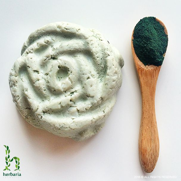 Handmade soap with spirulina and korund peeling for daily cleansing