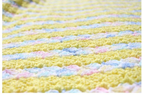 Yellow Baby Blanket Striped Crochet Baby by CraftCreationsbyRose