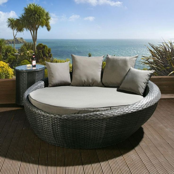 Black Rattan Garden Day Bed With Grey Cushion Covers. This Set Consist Of A  Large