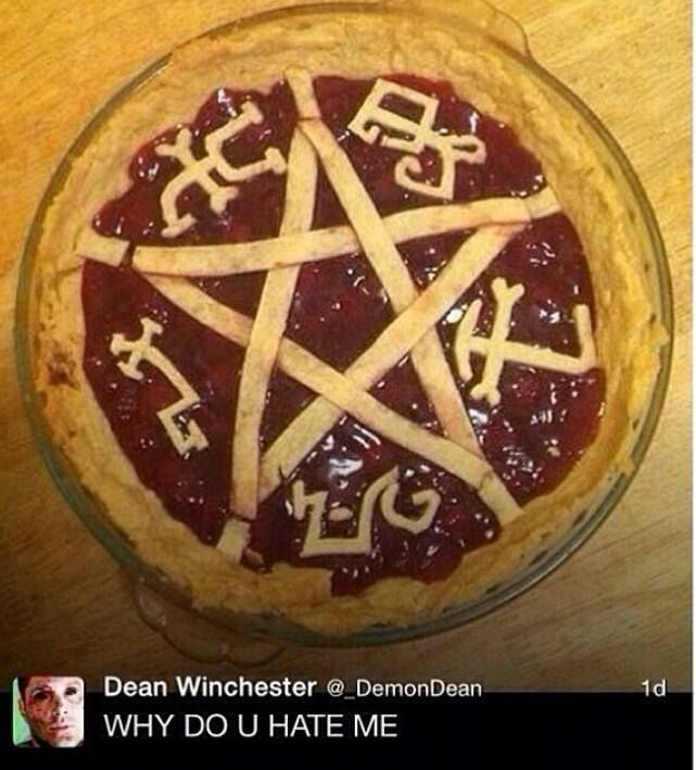 Yeah, I can see Dean stepping on that pie before taking the first bite that burns his demonic insides