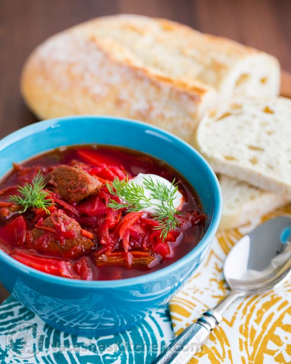 Borscht - A Christmas Eve tradition in Russia. Made this recipe tonight and it was delicious!