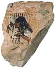 ostracon con la representación de una mujer tocando la lira.  encontrado en Deir el-Medina. Imperio Nuevo
