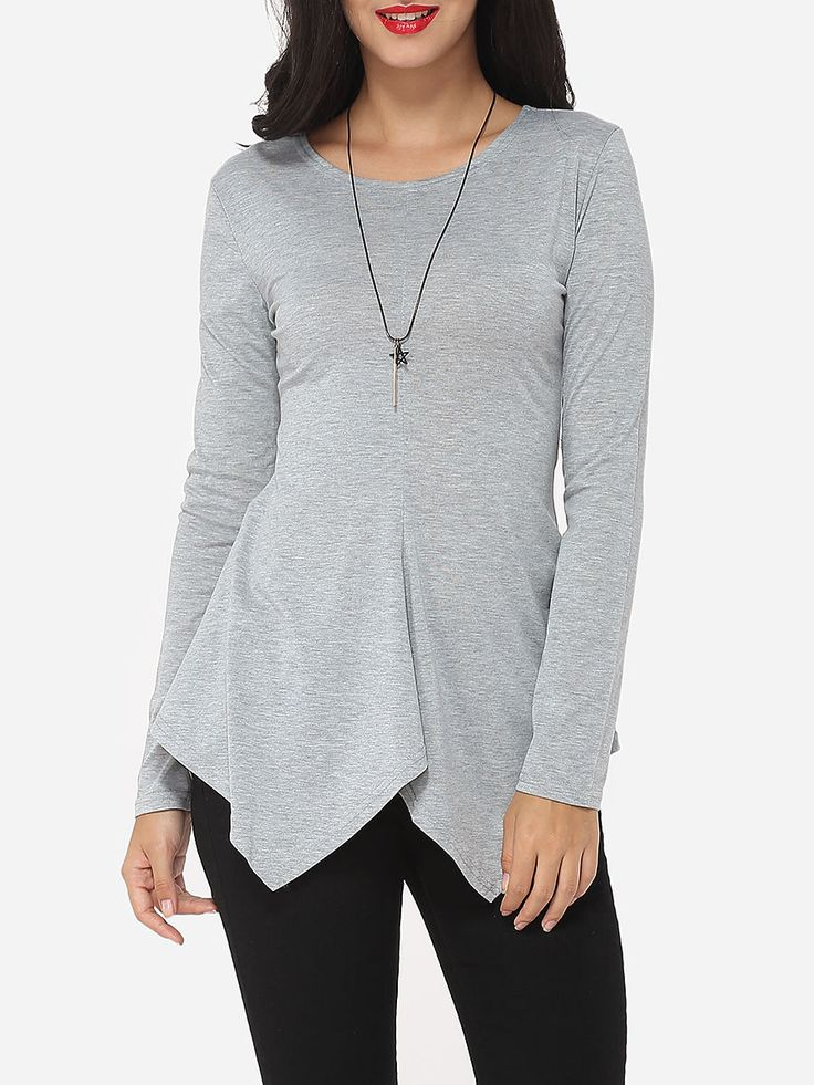 #AdoreWe #FashionMia Long sleeve T-shirts - FashionMia Plain Asymmetrical Hems Courtly Round Neck Long-sleeve-t-shirt - AdoreWe.com