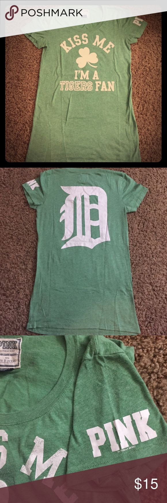 PINK Detroit Tigers St. Patrick's Day Shirt Sz M PINK Victoria's Secret Detroit Tigers t-shirt. Perfect for St. Patrick's Day!! In good shape! Kidss Me I'm a Tigers Fan on the front and Old English D on the back. PINK Victoria's Secret Tops Tees - Short Sleeve