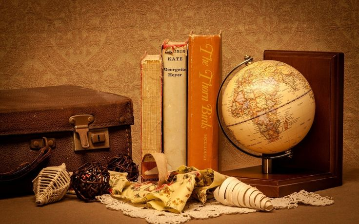 Books world globe suitcase hd wallpaper freehdwall com for Book wallpaper