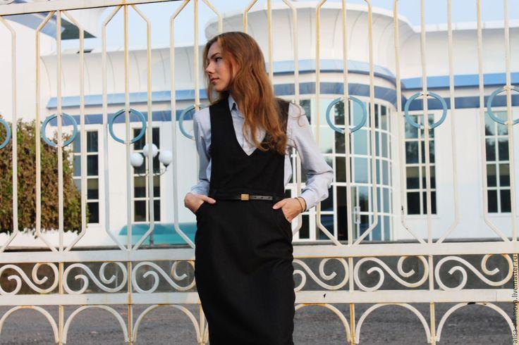 """Купить Стильный сарафан """"Белла"""", с карманами. - черный, однотонный, сарафан, офисный стиль, офисное платье"""