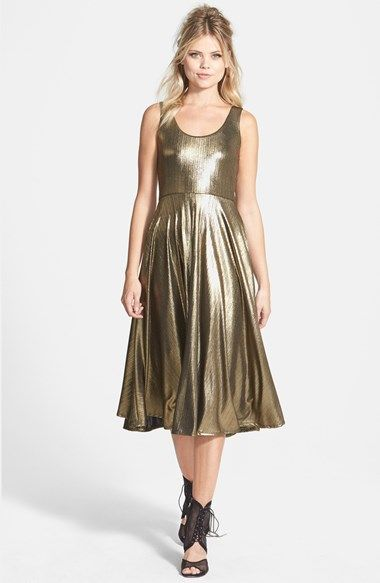 June & Hudson Golden Fit & Flare Midi Dress available at #Nordstrom
