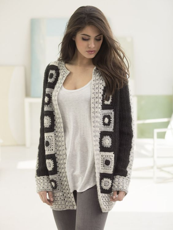 Make this trendy granny square statement cardigan with Lion Brand Heartland! Free crochet pattern calls for 11 - 15 balls of yarn (pictured in black canyon, mount rainier, and katmail) and a size I-9 crochet hook.:
