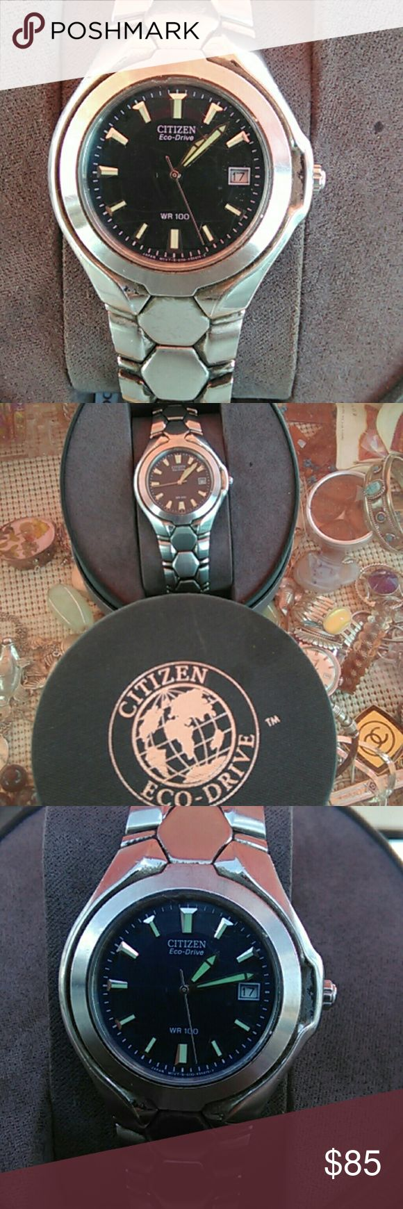 "Vintage citizen eco-drive mens watch with case Stainless steel case and bracelet Running and keeping time Bracelet size 9"" wrist  What you see in pix what you will get Citizen Accessories Watches"