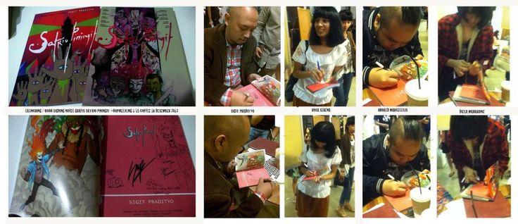 book signing di launching Satrio Piningit di 1/15 coffe acara kopling