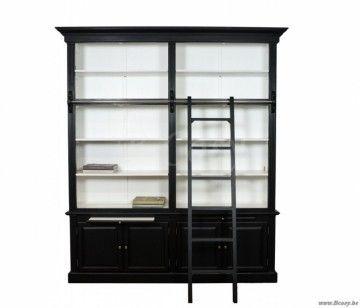 "PR Interiors Rennes Bibliotheek kast in berk wit en zwart met ladder 215<span style=""font-size: 0.01pt;""> PR-Rogiers-Home-Interiors-CHR/191/C1 bibliotheekkast-bibliotheek-bibliotheque-bibliotheques-boekenkast-boekenkasten-bibliothee </span>"