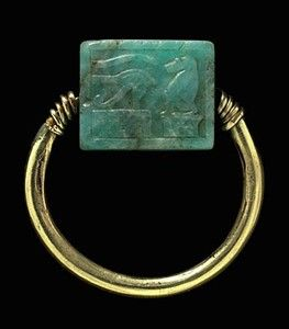 An Egyptian gold and amazonite swivel ring - Ptolemaic Period, 304-30 BC