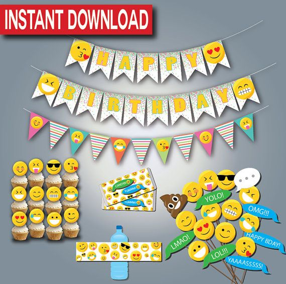 Emoji Birthday Party Supplies Instant Download Printable Digital Files Emoticon