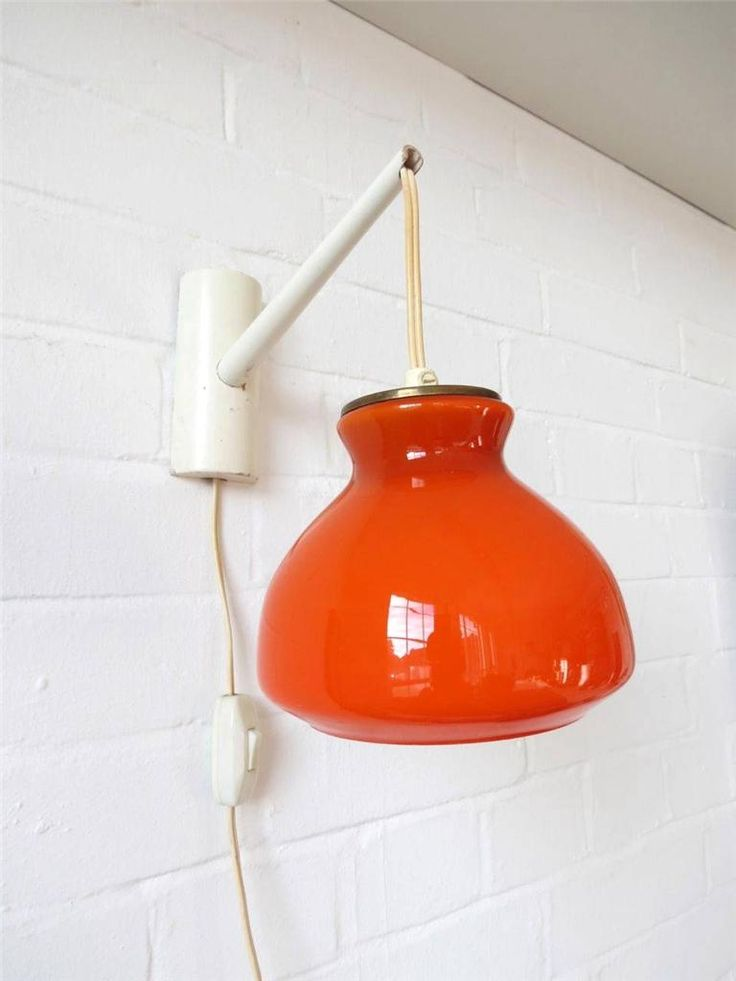 Lovely Vintage Orange Holmegaard Wall Lamp