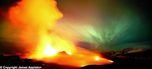 A 'dream come true': UK photographer gets aurora and volcano in same photo'