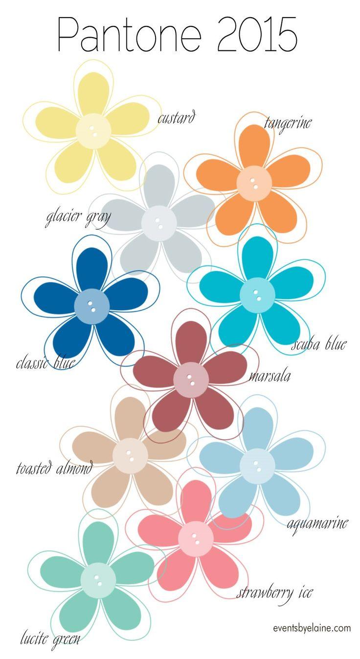 Pantone 2015 Colors.  Top 10 colors for weddings, fashion and design:  Glacier Gray, Classic Blue, Marsala, Custard, Lucite Green, Tangerine, Strawberry Ice, Toasted Almond, Scuba Blue, Aquamarine