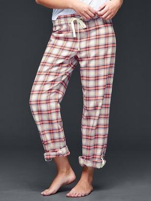 Flannel plaid roll-up pants - Shop for women's Pants - navy plaid Pants