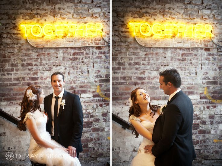 Bride and Groom at the Ven gallery. Neon sign  Location ~ King Street, Perth  Photography by DeRay & Simcoe