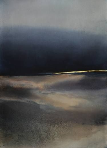 "Saatchi Art Artist Sabrina Garrasi; Painting, """"The sky flooded by night""  /  Abstract Landscape"" #art"