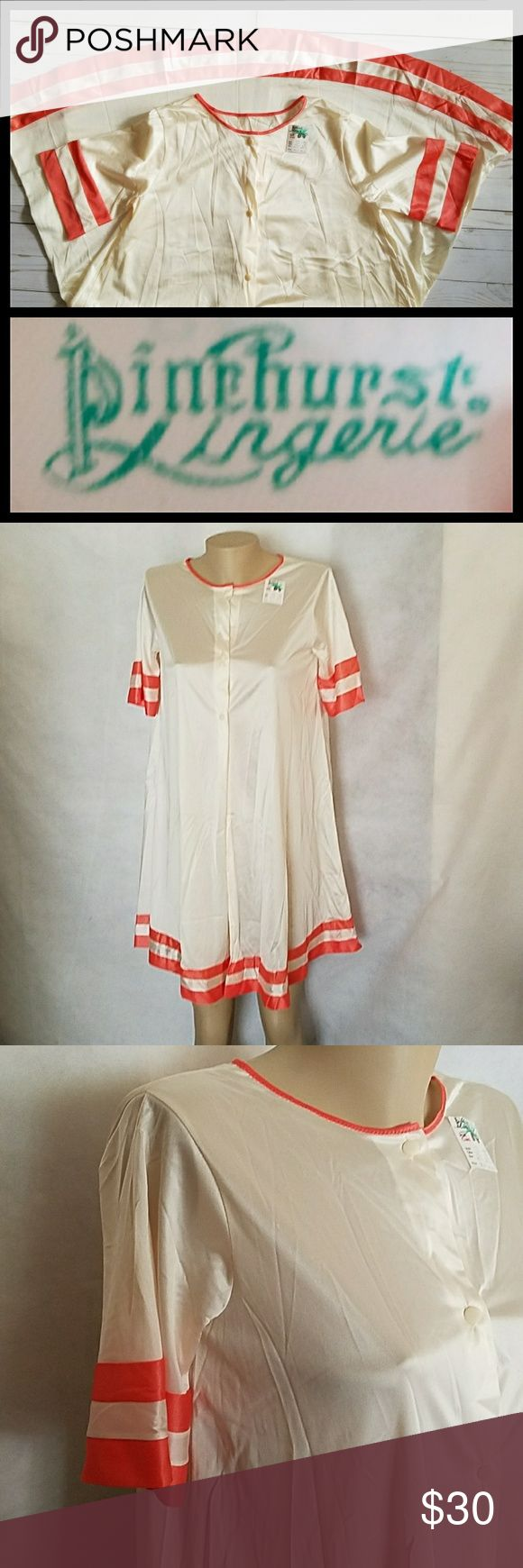Vintage Pinehurst Lingerie Ivory Robe NWT Pinehurst Lingerie Vintage Price tag lower My price $30  *may have a snag or 2 from the price tag/straight pin Not that noticeable See 4th pic located in front middle 2nd/3rd button left side  I offer 30% discount on 2 or more bundles    Women's non-cling robe ONLY Neckline/short sleeves/hem trimmed Front opening with 3 small cute plastic  buttons Color: pearl/salmon (trim) Size petite Pit to pit 19 Length 34 100% nylon  Made in USA Pinehurst…