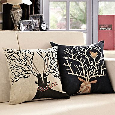 Set of 2 Cute Cartoon Caribou Pattern Decorative Pillow Covers – USD $ 29.99
