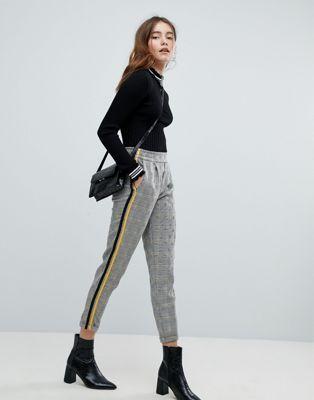 Bershka Check Side Stripe Trouser Strapped Pants Side Stripe