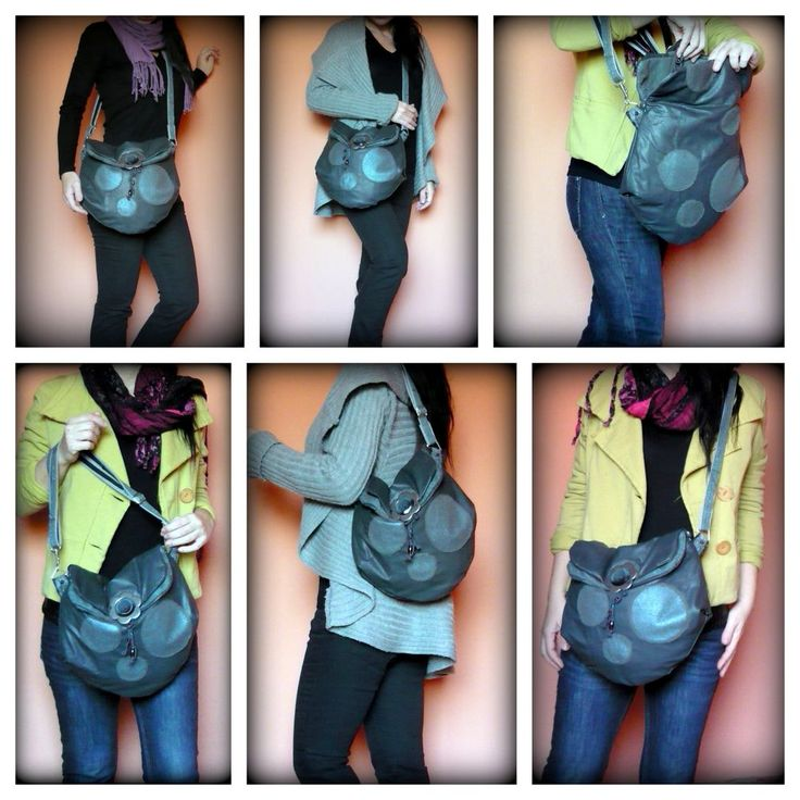 Handmade by Judy Majoros - Gray- turquoise leather crossbody bag. Recycled bag