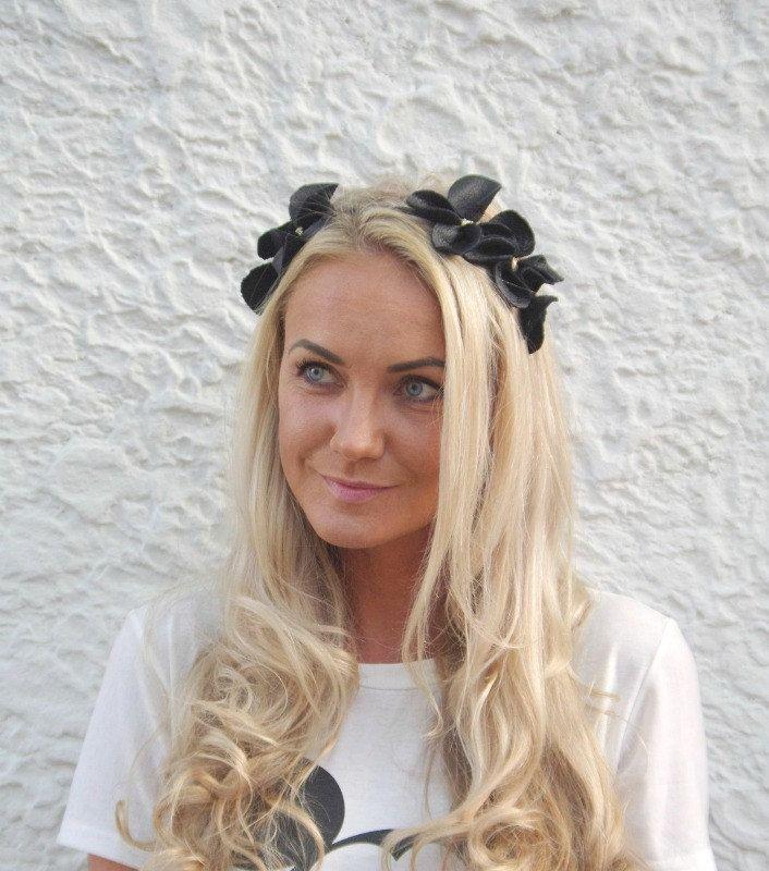 Black Leather Flower Headband, Leather Fascinator, leather headpiece, Modern Fascinator, Genuine Leather headpiece, Millinery | Gigi by byKatriin on Etsy