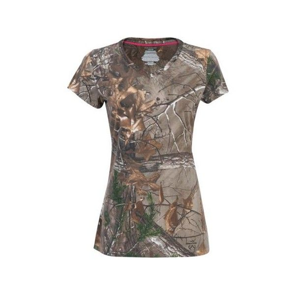Ladies' Short-Sleeved Camo Tee Walmart.com ❤ liked on Polyvore featuring tops, t-shirts, camo t shirt, camo print tee, brown tee, camo print top and camoflage t shirt